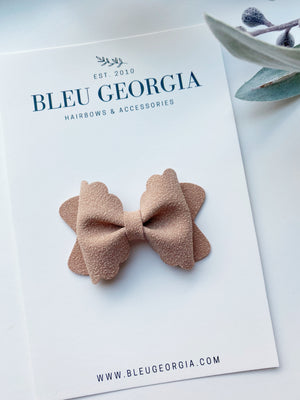 Veiled Rose Suede - Mini Scalloped Bow