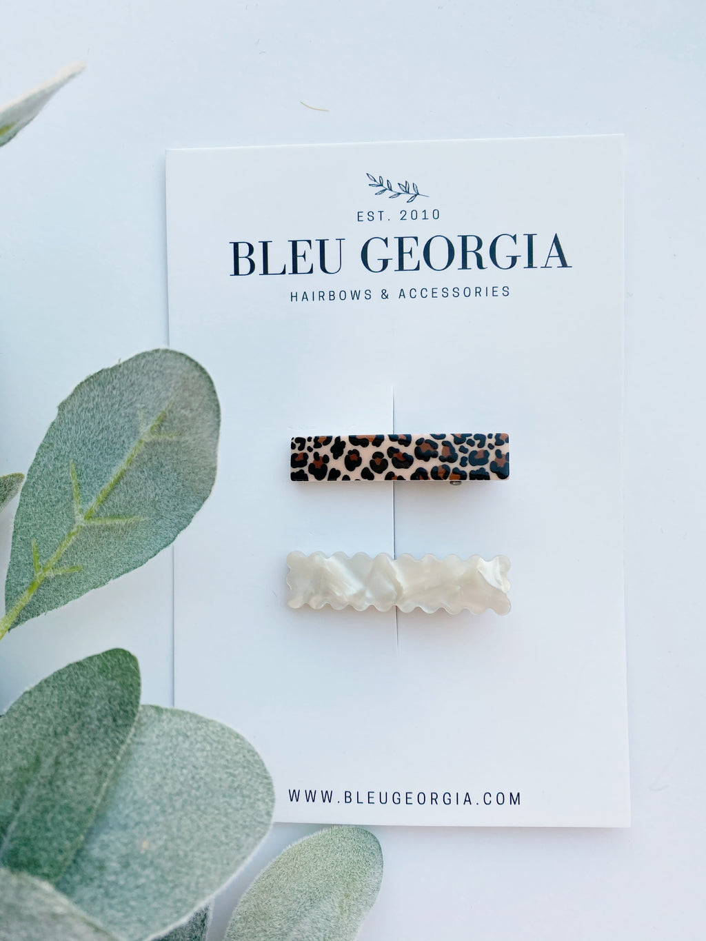 Scalloped Pearl & Cheetah - Duo Clip Set