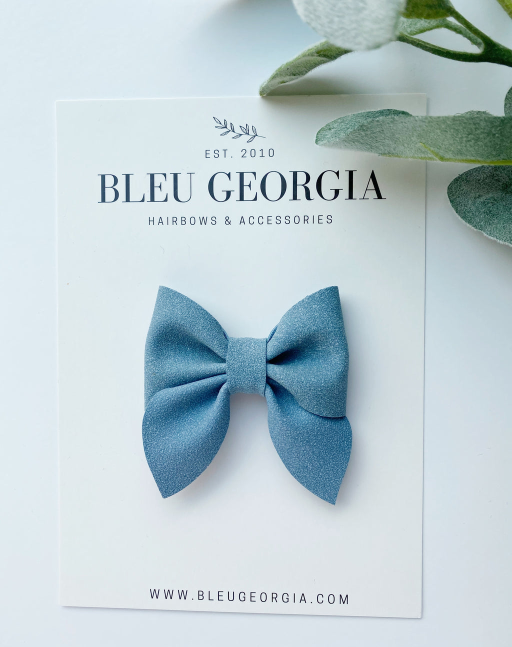Columbia Blue Suede - Longtail Bow