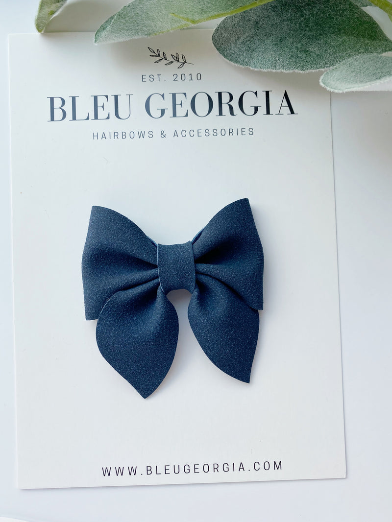 Navy Suede - Longtail Bow