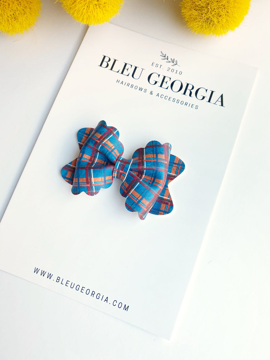 Rusty Blue Tartan - Mini Scalloped Bow