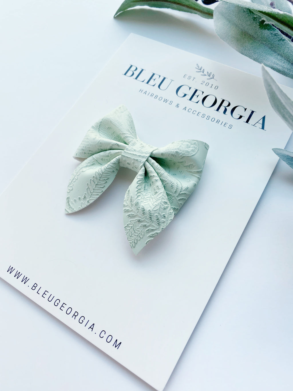 Hint of Mint Embossed Lace - Longtail Bow