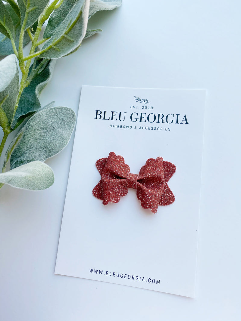 Vintage Brick Glitter - Mini Scalloped Bow