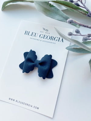 Navy Suede - Mini Scalloped Bow