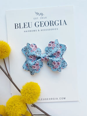 Blue Blossom Floral - Large Scalloped Bow