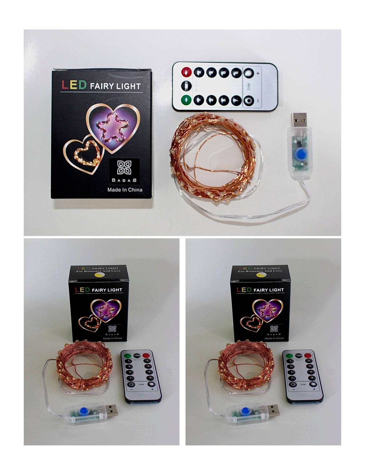 String Lights Copper Wire USB Remote Control 3 pack