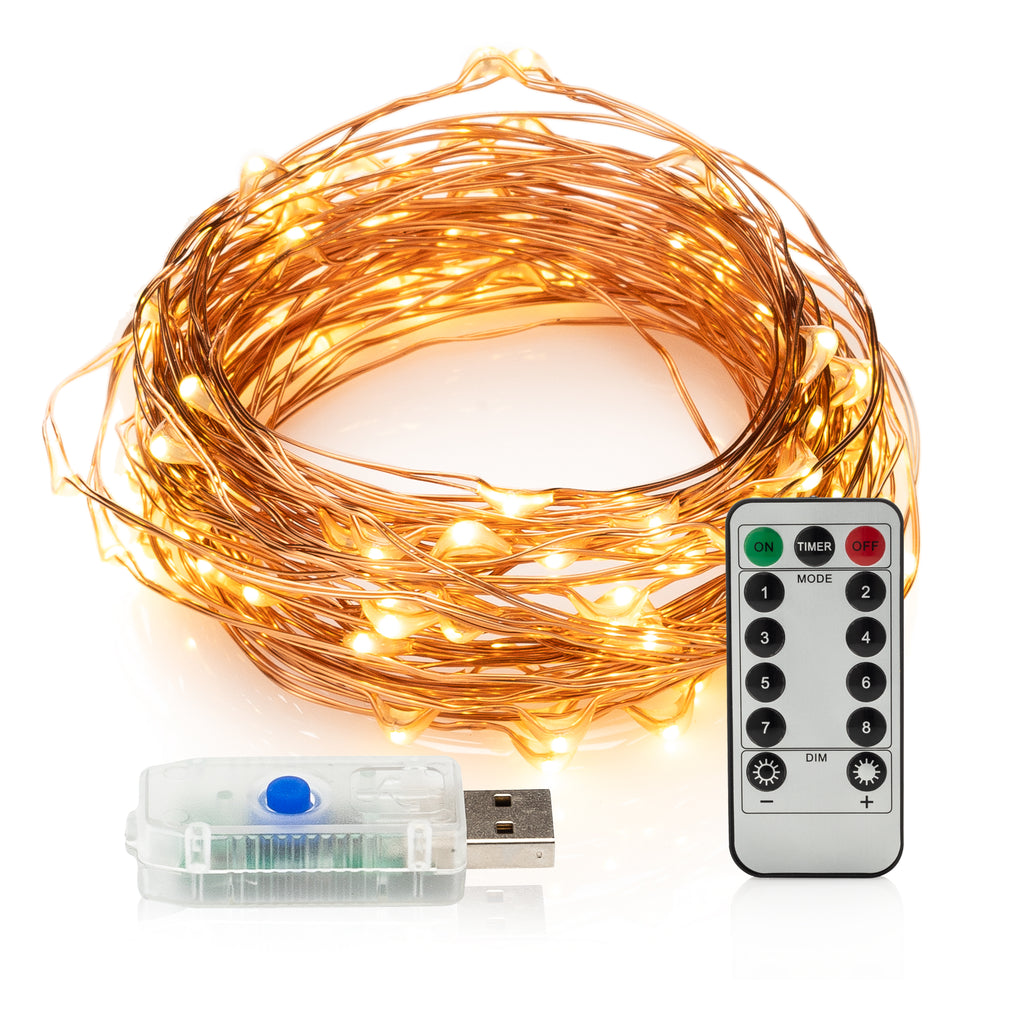 Fairy String Lights - 33ft | 100 LEDs Copper Wire | USB Plugin | 8 Mode Remote | Warm White Lights