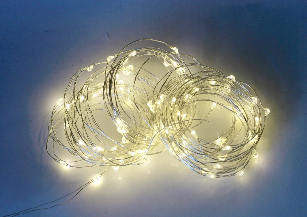 Fairy String Lights 100 Warm White LED's 33 Ft. Double Wire With USB Plugin + 8 Mode Remote Control