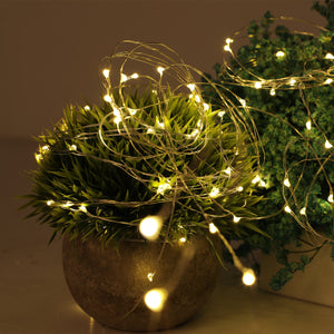 Copper wire string lights LED on planter