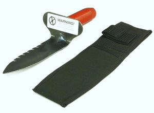 Lesche Digging Tool with Right Side Serrated Blade with Free Sheath