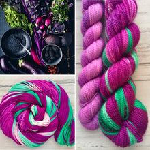 Load image into Gallery viewer, Purple Kale smoothie Half skein set- Fingering