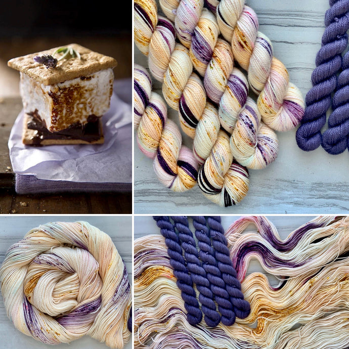 Toasted Lavender Marshmallow  Half skein set- Fingering