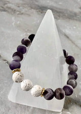 Frosted Amethyst and White Lava Stone Protection Bracelet