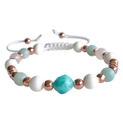 Rose Quartz, Amazonite, and Tridacna Adjustable Bracelet