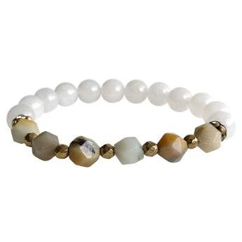 White Jade and Amazonite  Geocut Bracelet