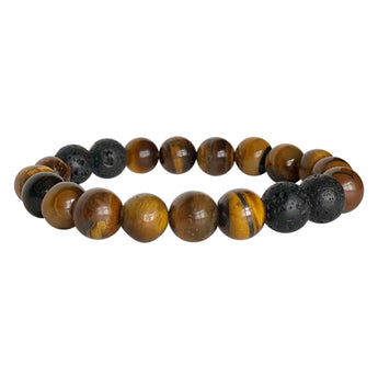 Golden Tiger's Eye and Black Lava Fearless Bracelet