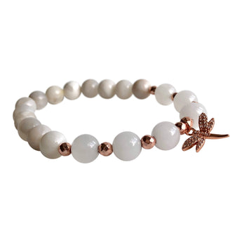 White Crazy Lace Agate and White Jade Dragonfly Bracelet