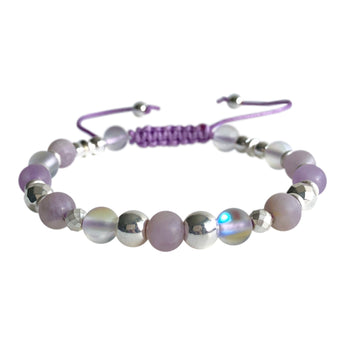 Natural Purple Jade and White Mystical Aura Quartz Adjustable Bracelet