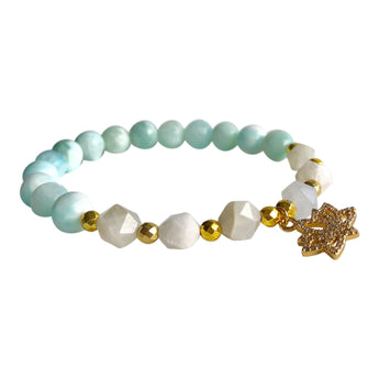 Larimar and Moonstone Geocut Bracelet