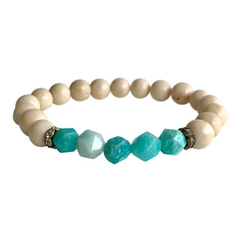 White Petrified Wood and Amazonite  Geocut Bracelet