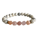 Howlite and Sunstone Geocut Bracelet