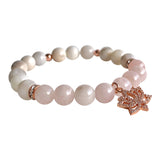 Soul Journey Rose Quartz and White Crazy Lace Agate and Lotus Bracelet