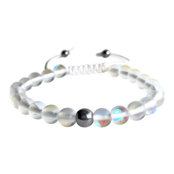 White Mystical Aura Quartz Adjustable Bracelet