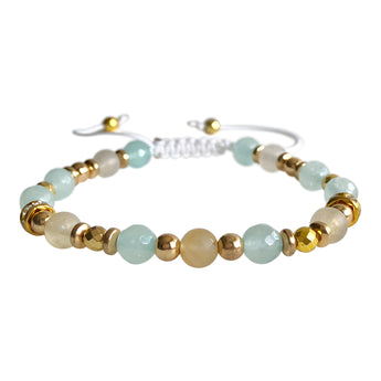 Citrine and Mint Jade Adjustable Bracelet