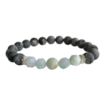 Larvikite and Moonstone Geocut Bracelet