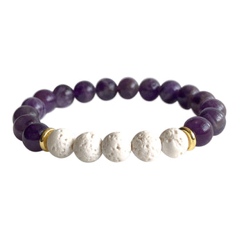 Amethyst and White Lava Stone Protection Bracelet