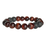 Red Tiger's Eye and Black Lava Motivated Bracelet