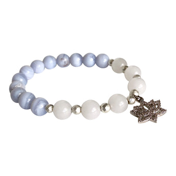 Whole Soul Affair Blue Lace Agate and White Jade Lotus Bracelet