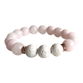 Rose quartz and White Lava Stone Self-Love Bracelet