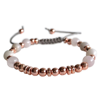 Soul Journey Rose Quartz and Crazy Lace Agate Adjustable Bracelet