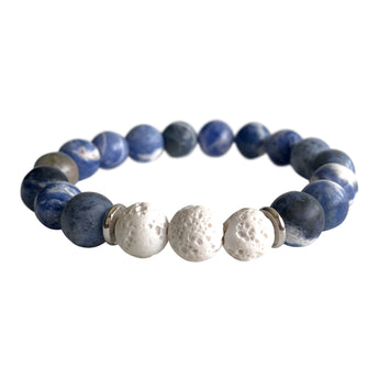 Sodalite and White Lava Stone Intuitive Bracelet