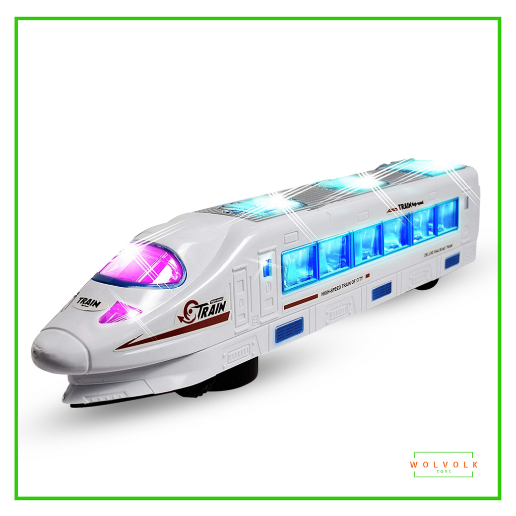 Wolvolk Bump & Go Electric Flash Light Train Toy with Music