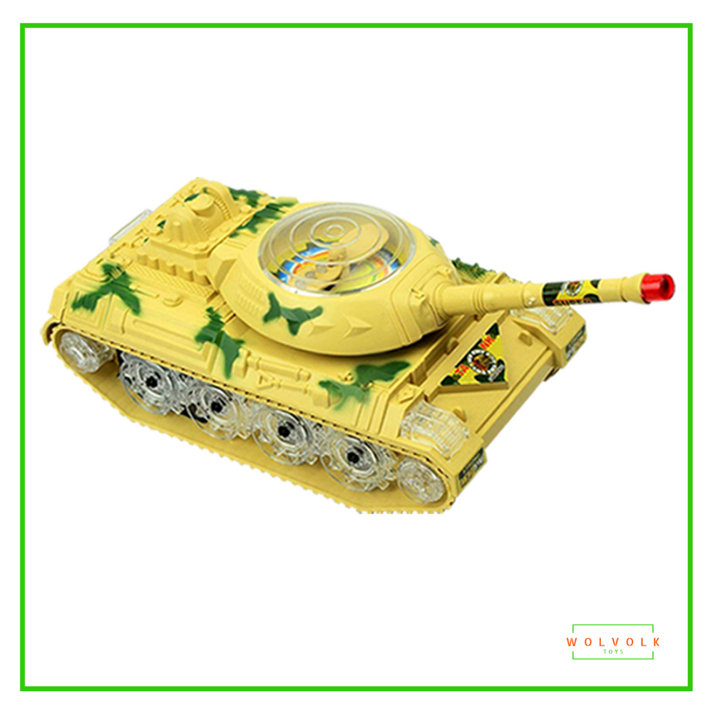 Wolvolk Bump & Go Action Electric Military Tank Fighter Toy with Lights and Sounds