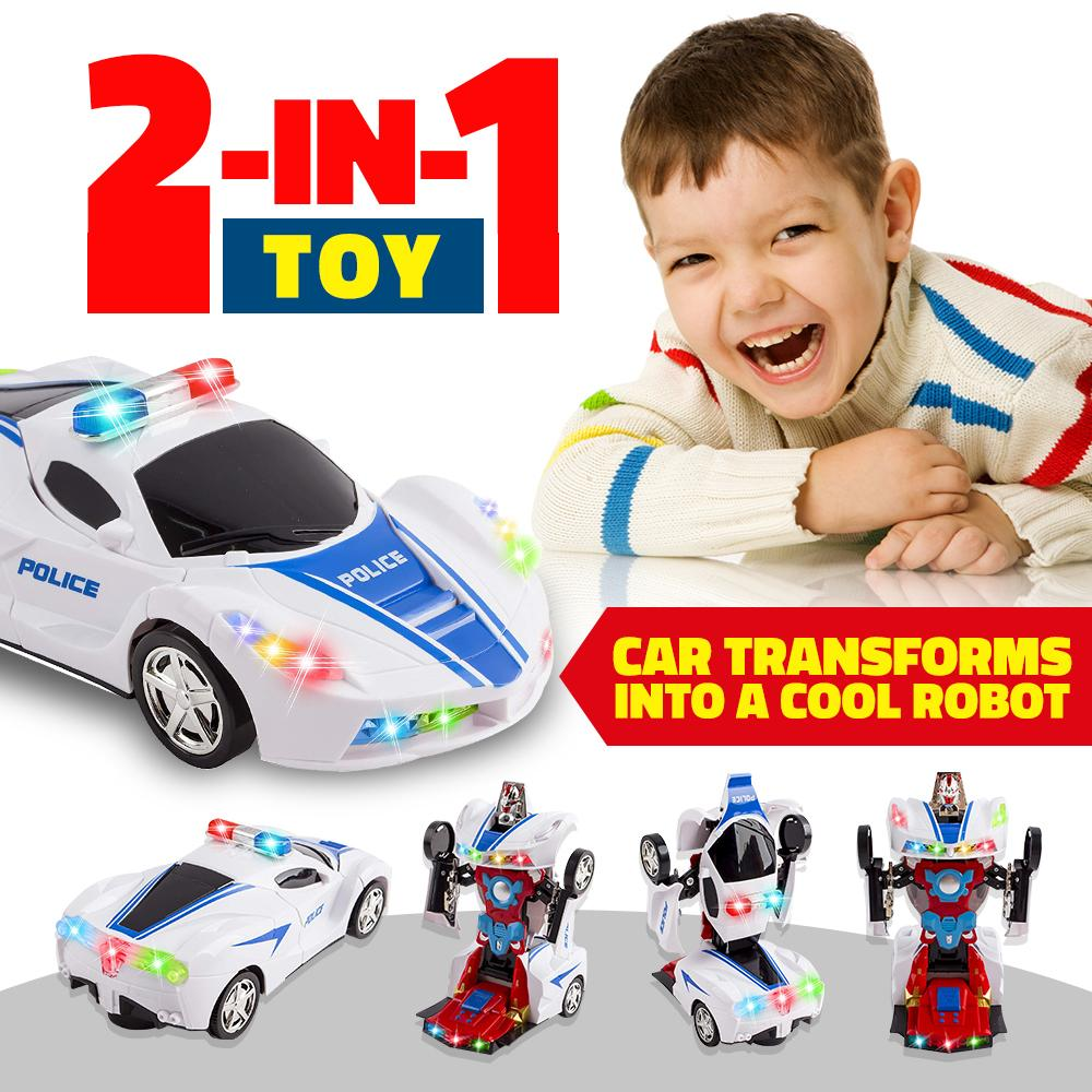 Wolvolk Robot Police Car Toy with Lights and Sounds for Kids, with Bump and Go Action