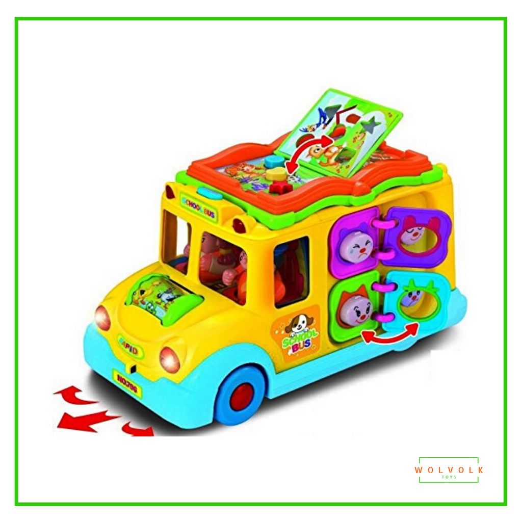 Wolvolk Self Driving School Bus Toy with Lights and Sounds for Kids, Learning and Activity Functions & Very Interesting Movements