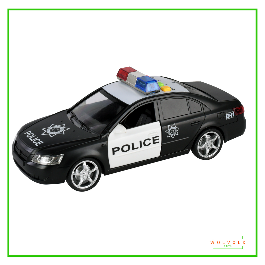 WolVol Friction Powered Police Car - Push & Go Heavy Duty Plastic Vehicle Toy - Lights & Siren Sounds