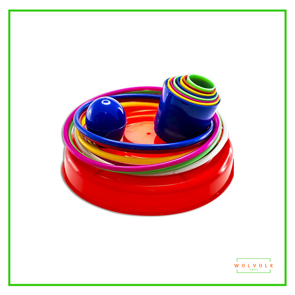 WolVolk 18 inch Brightly Colorful Quoits Ring Toss Game Set for Kids