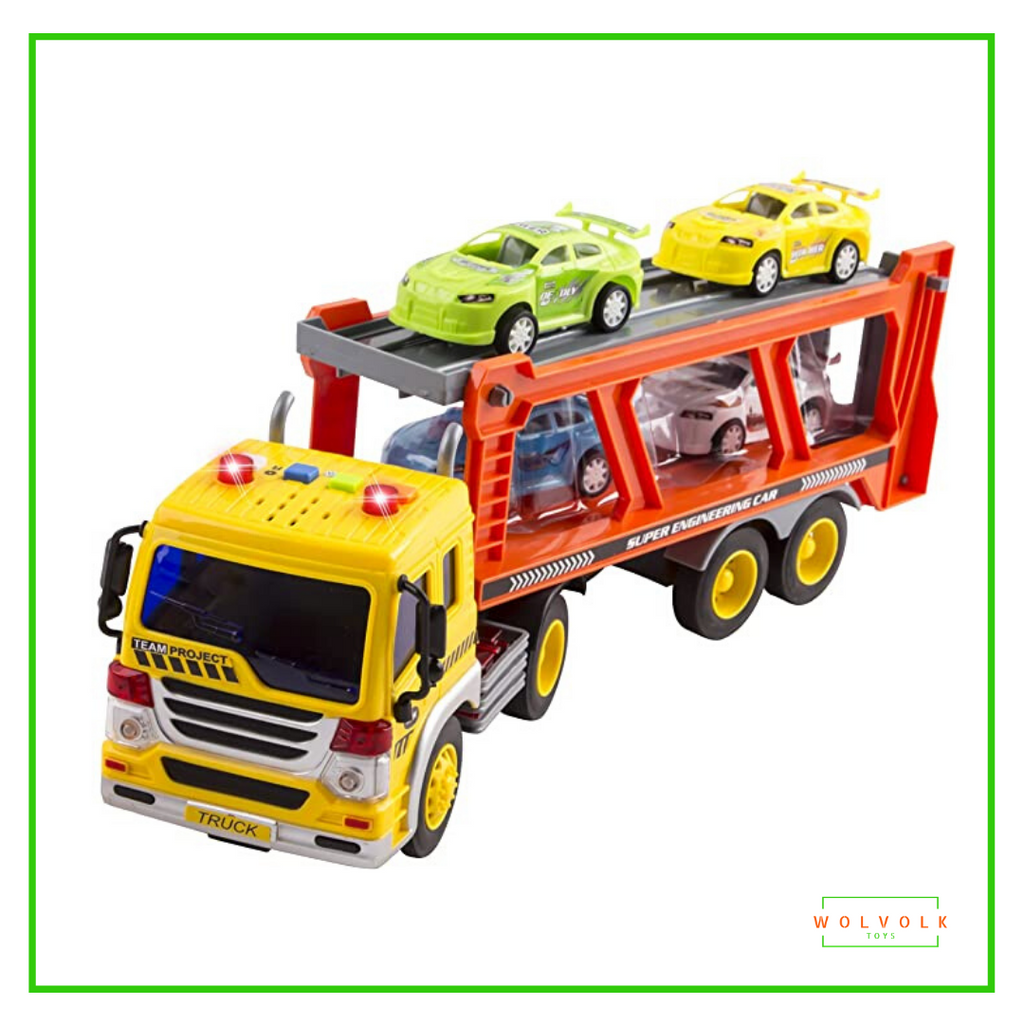 WolVolk Friction Powered Transport Car Carrier Truck Toy