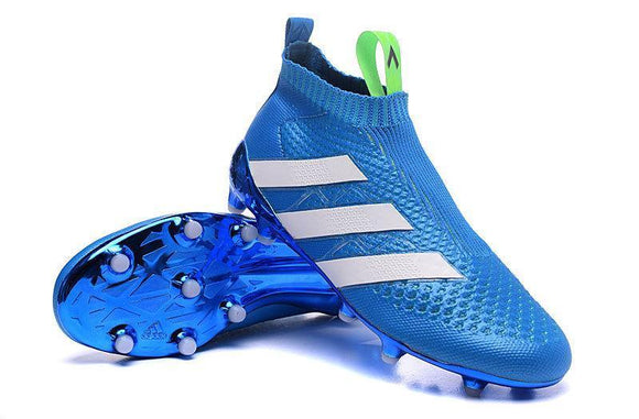 3d38eed6d28103 Adidas ACE 16+ Purecontrol FG AG Soccer Cleats Blue White Green -  JungleBoots