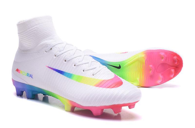 0bc90129d Nike Mercurial Superfly V FG Soccer Cleats True White Colourful
