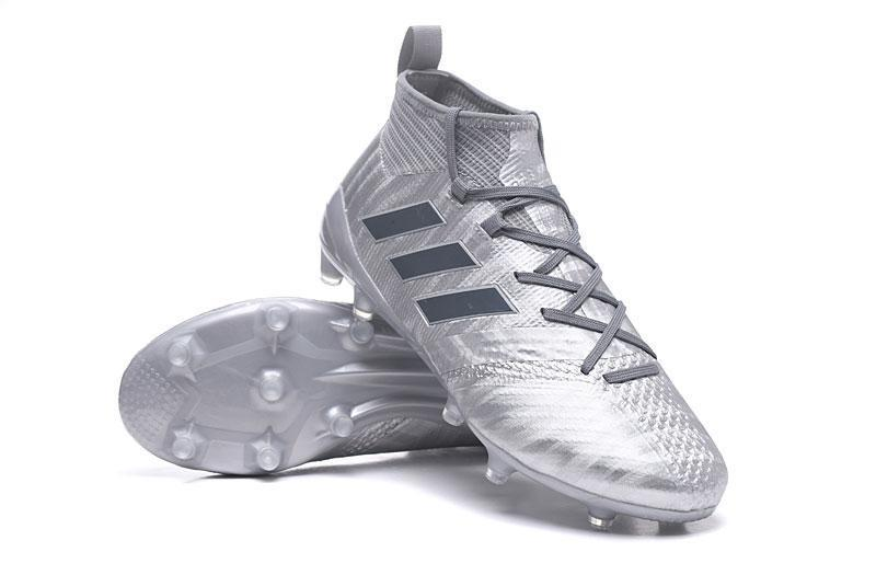 half off 47a91 3fa62 Adidas ACE 17.1 Magnetic Control FG Soccer Cleats Silver Metallic