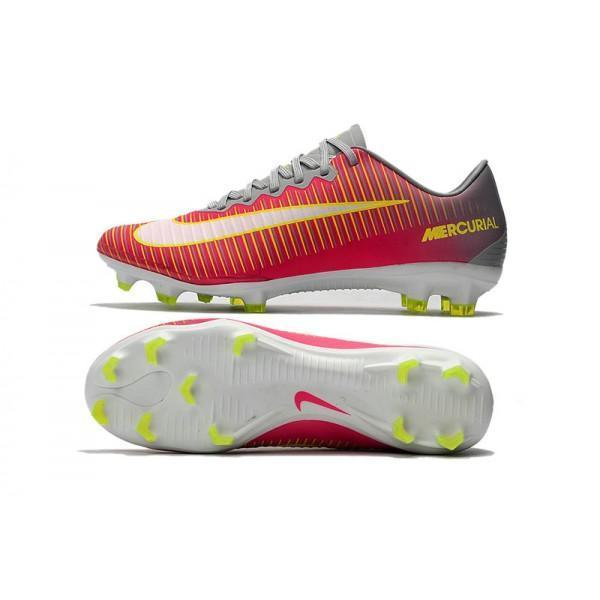 best service 162f4 4f3b4 Nike Mercurial Vapor XI FG Soccer Cleats Red Grey Yellow White