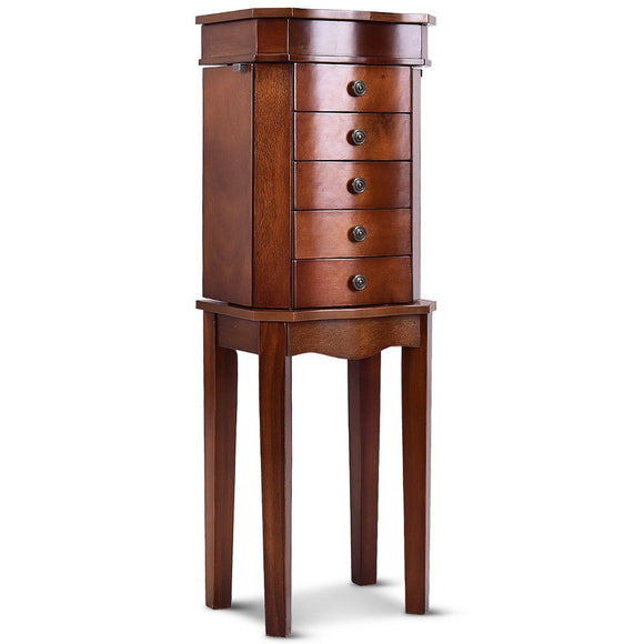 Armoire Storage Jewelry Cabinet with 5 Drawers & Mirror - Johnson-Furniture-Company