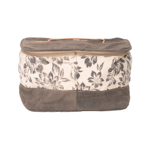 Flower Print Upcycled Canvas Washbag