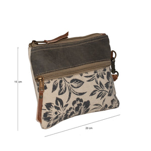 Flower Print Upcycled Canvas Wrist Bag