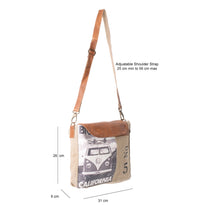 Load image into Gallery viewer, 'Camper Van' Upcycled Canvas Flapover Cross Body Bag